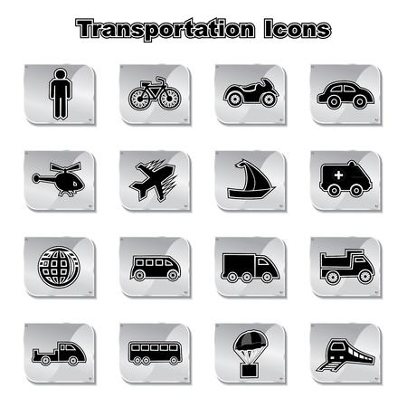 black train: Set of Transportational Icons