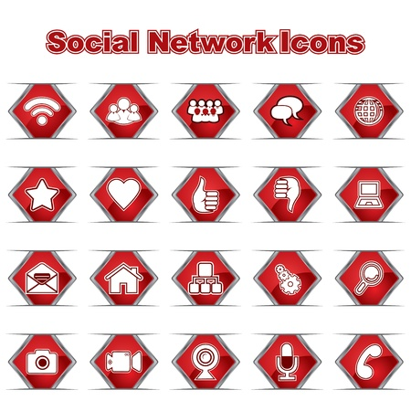 Set of Social Network Icons Stock Vector - 17214557