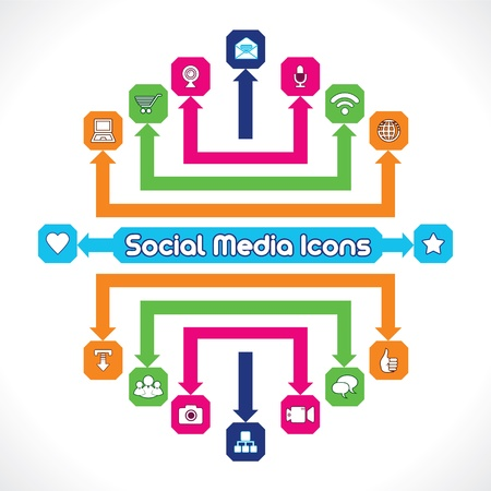 Set of Social Media Icons  Stock Vector - 17214556