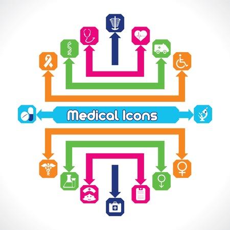 pill box:  Set of Medical Icons  Illustration