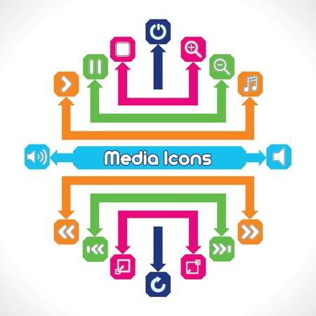Set of Media Music Icons Vector