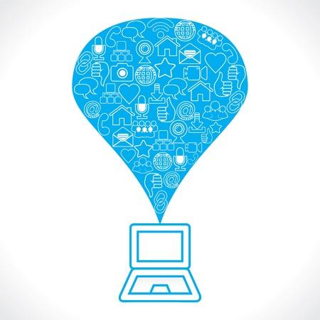 Social Network Icons make a Ballon on laptop Stock Vector - 17214320