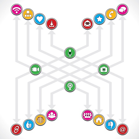 Social Network icons mage a group  Stock Vector - 17214319