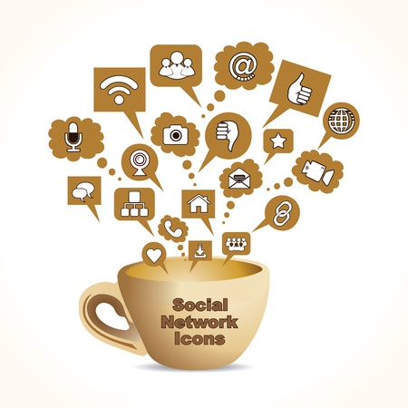 home video camera:  social media concept with coffee mug stock vector  Illustration