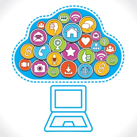 different social media icons make cloud