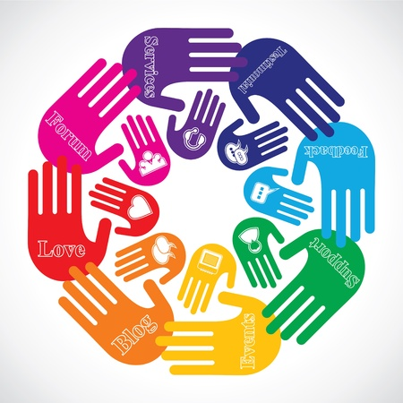 Hand showing different social media icons  Vector