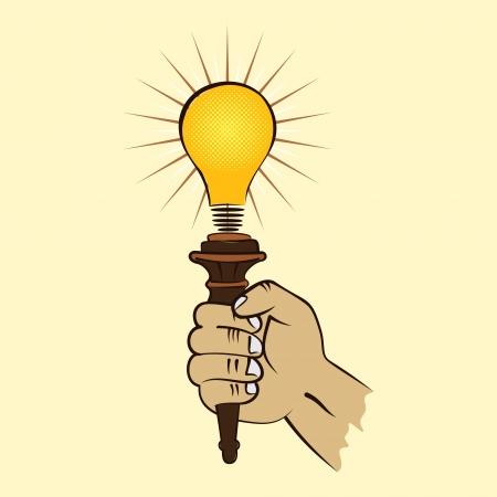 bulb torch in hand stock vector Stock Vector - 17203729