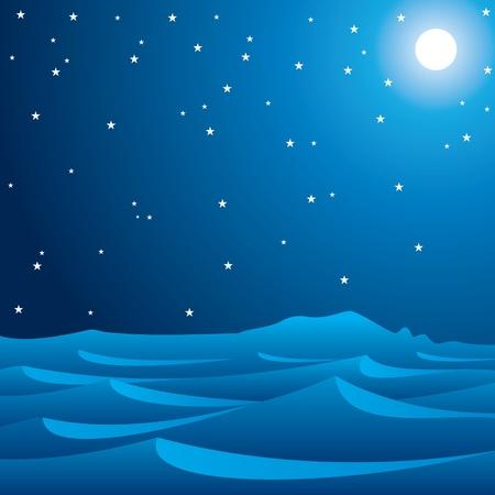 quiet scenery: midnight scene of desert stock vector Illustration