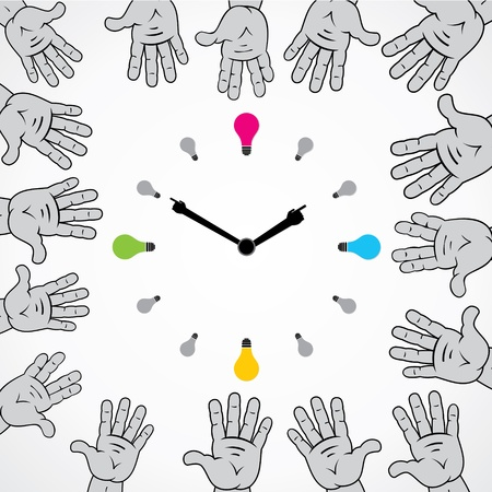 abstract hand try to stop bulb clock stock vector Stock Vector - 17203732