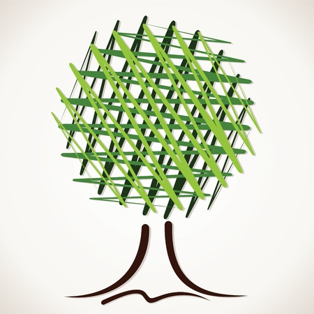 lone: abstract sketch green tree stock vector