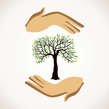 hand holding plant: save tree concept stock vector