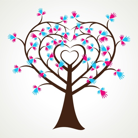 hello heart: abstract heart shape hand tree stock vector Illustration