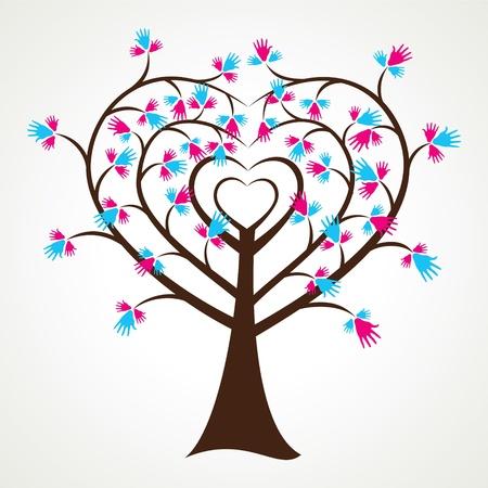 corazones azules: resumen forma parte del coraz�n de �rbol stock vector Vectores