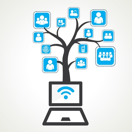 wifi sign: connect with wifi of different group people stock Illustration