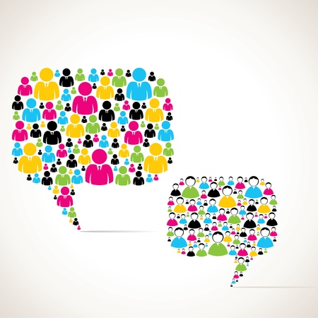 colorful group of people message bubble stock