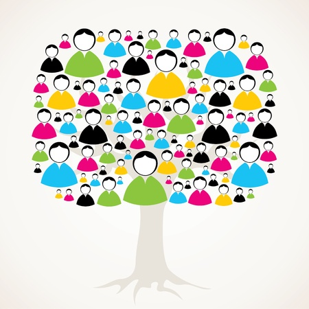 collaboration: social medial network tree stock