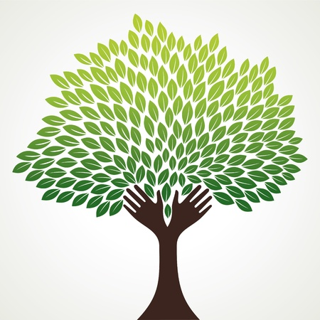 hand tree: green hand stock vector Illustration