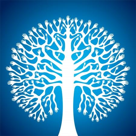 d'arbres à la main sur fond bleu