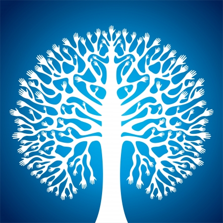 hand tree: hand tree stock in blue background Illustration