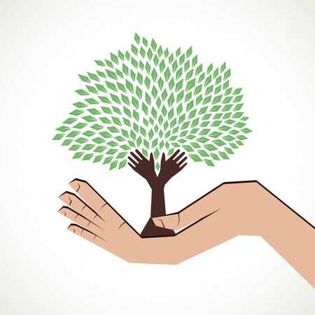 hand tree in hand  stock  Vector