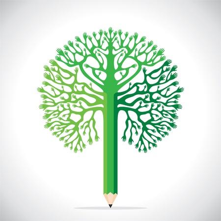 green hand tree stock Stock Vector - 17125860