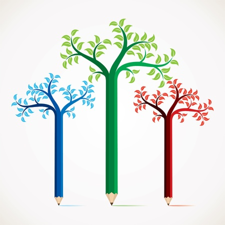 pencil symbol: colorful pencil tree stock Illustration