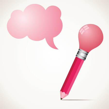 pink bulb pencil with message bubble stock Stock Vector - 17125702