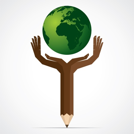 pencil hand save the world stock Stock Vector - 17125730