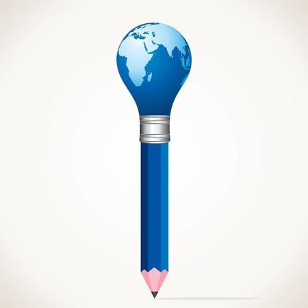 world map bulb pencil stock  Stock Vector - 17125716