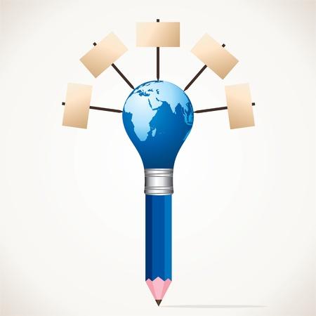 blank board world map pencil stock Stock Vector - 17125719