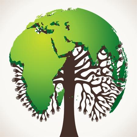 educacion ambiental: Mapa del mundo verde árbol stock Vectores