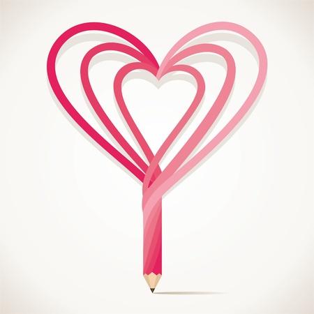adore: heart shape pencil stock