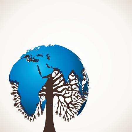 recycle tree: world map tree stock  Illustration