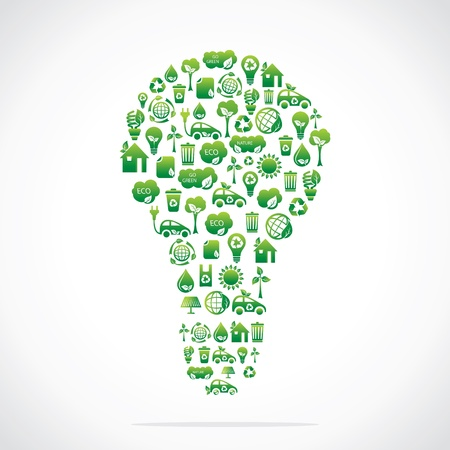 green eco bulb design with icon stock vector Vector