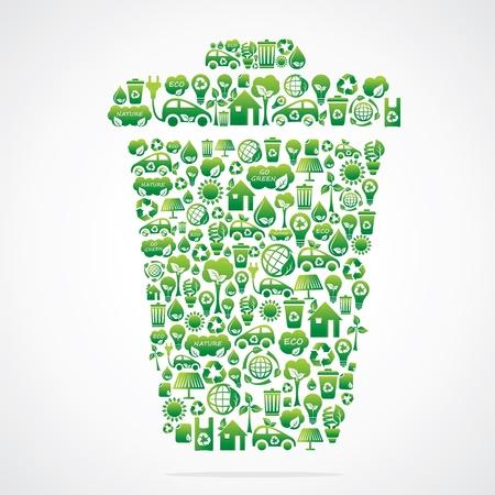 �cologie: conception poubelle � l'�co ic�ne verte vecteur stock Illustration