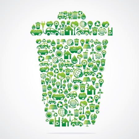 dustbin design with eco green icon stock vector Ilustrace