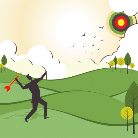 people hit to archery board stock vector Illustration