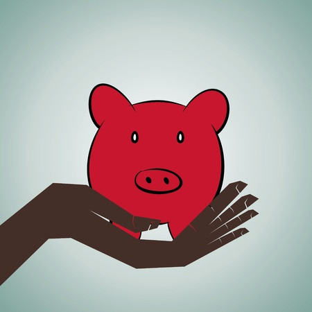 piggy bank in hand stock vector Vector