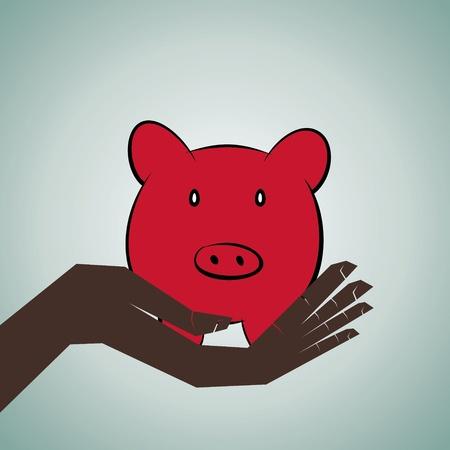 assure: piggy bank in hand stock vector