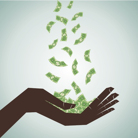 hand catch the money stock vector Stock Vector - 17108458