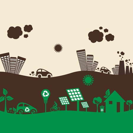 eco city and polluted city stock vector Vector