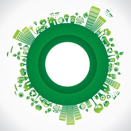 save the environment: green city in round style stock vector
