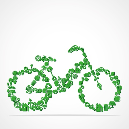green eco iconic bicycle stock vector Vector