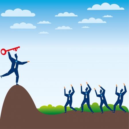 businessmen throw the success key stock vector Stock Vector - 17108340