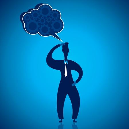 smirk: businessmen thinking stock vector Illustration
