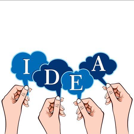 idea word in bubble message in hand stock vector Vetores