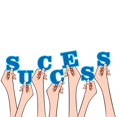 success word in hand stock vector Stock Vector - 17108312