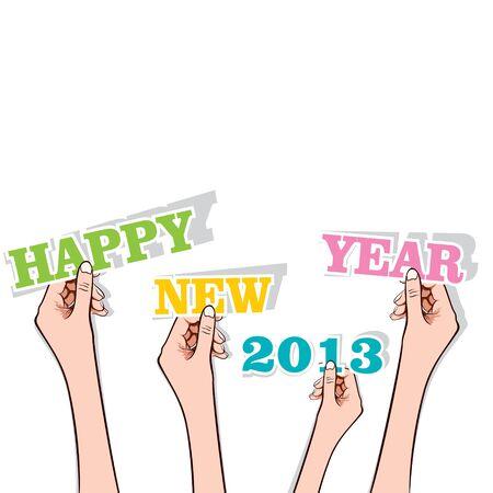 happy new year 2013 in hand stock vector Stock Vector - 17108311