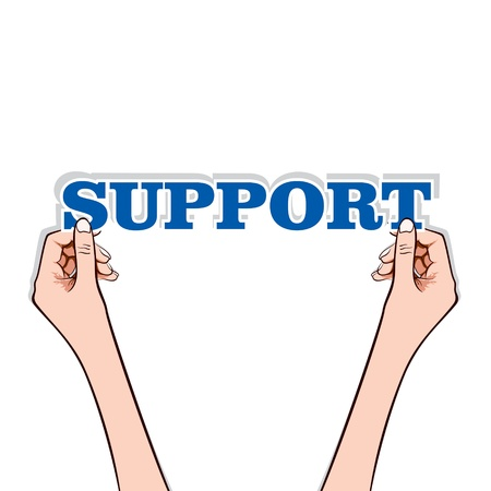 support word sticker in hand stock vector Stock Vector - 17108301