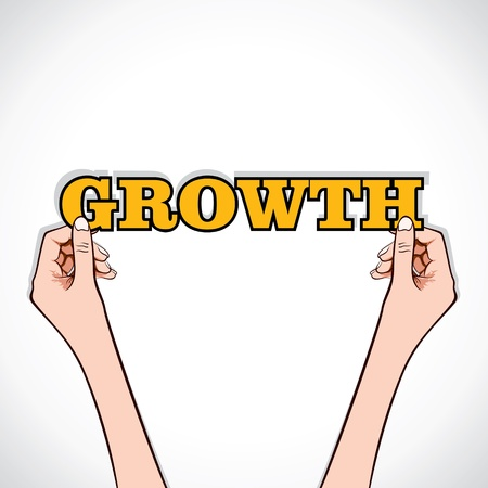 growth word sticker in hand stock vector Stock Vector - 17108302